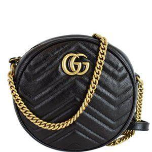 NWT GUCCI GG Marmont mini round shoulder bagleand